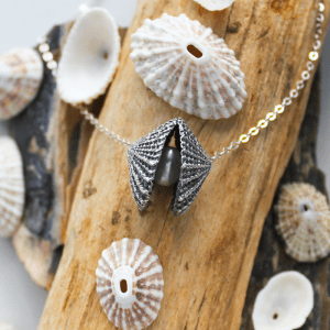 DaVine Jewelry, Sterling Silver Limpet Shell and White Freshwater Pearl Necklace