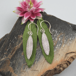 DaVine Jewelry, Sterling Silver Garden Sage Leaf Dangle Earrings