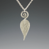DaVine Jewelry, Sterling Silver Pineapple Sage Leaf and Spiral Pendant Necklace
