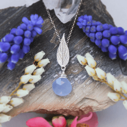 DaVine Jewelry, Silver Pineapple Sage Leaf and Blue Chalcedony Necklace