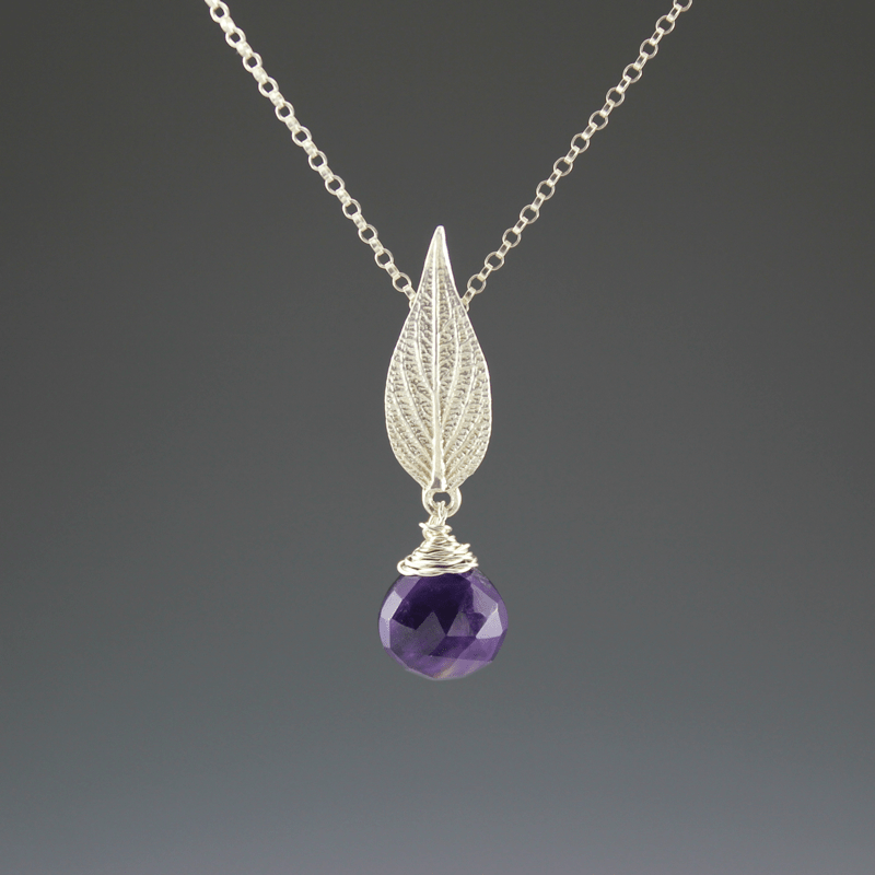 DaVine Jewelry, Sterling Silver Pineapple Sage Leaf Necklace with Amethyst Stone