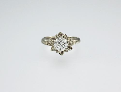DaVine Jewelry, White Gold & Diamond Flower Engagement Ring