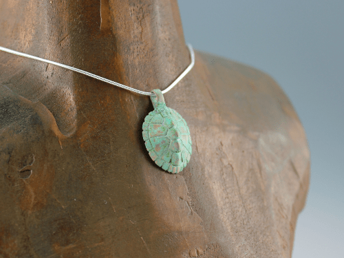 DaVine Jewelry, Bronze Turtle Shell Pendant with Green Patina