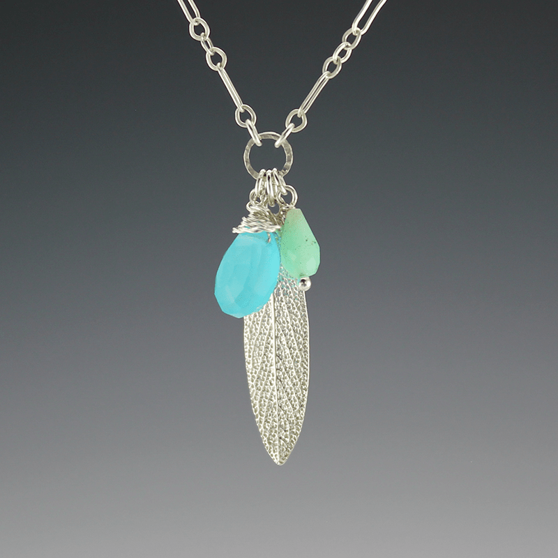 DaVine Jewelry, Charmy Sterling Silver Sage Leaf and Blue Chalcedony and Green Chrysophase Necklace