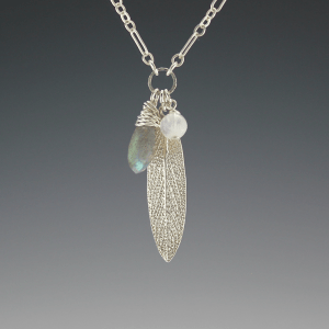DaVine Jewelry, Charmy Sterling Silver Sage Leaf with Labradorite and Moonstone Necklace