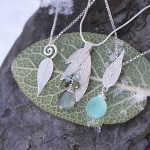 DaVine Jewelry, Sage Leaf Necklaces in Sterling Silver