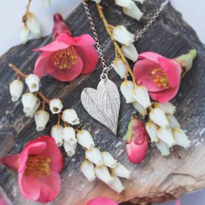 DaVine Jewelry, Silver Pineapple Sage Leaves Heart Pendant