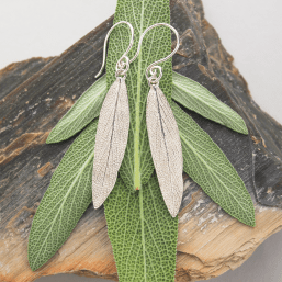 DaVine Jewelry, Silver Sage Leaf Earrings and Sage Leaves