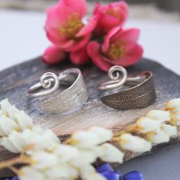 DaVine Jewelry, Garden Sage Leaf Spiral Rings
