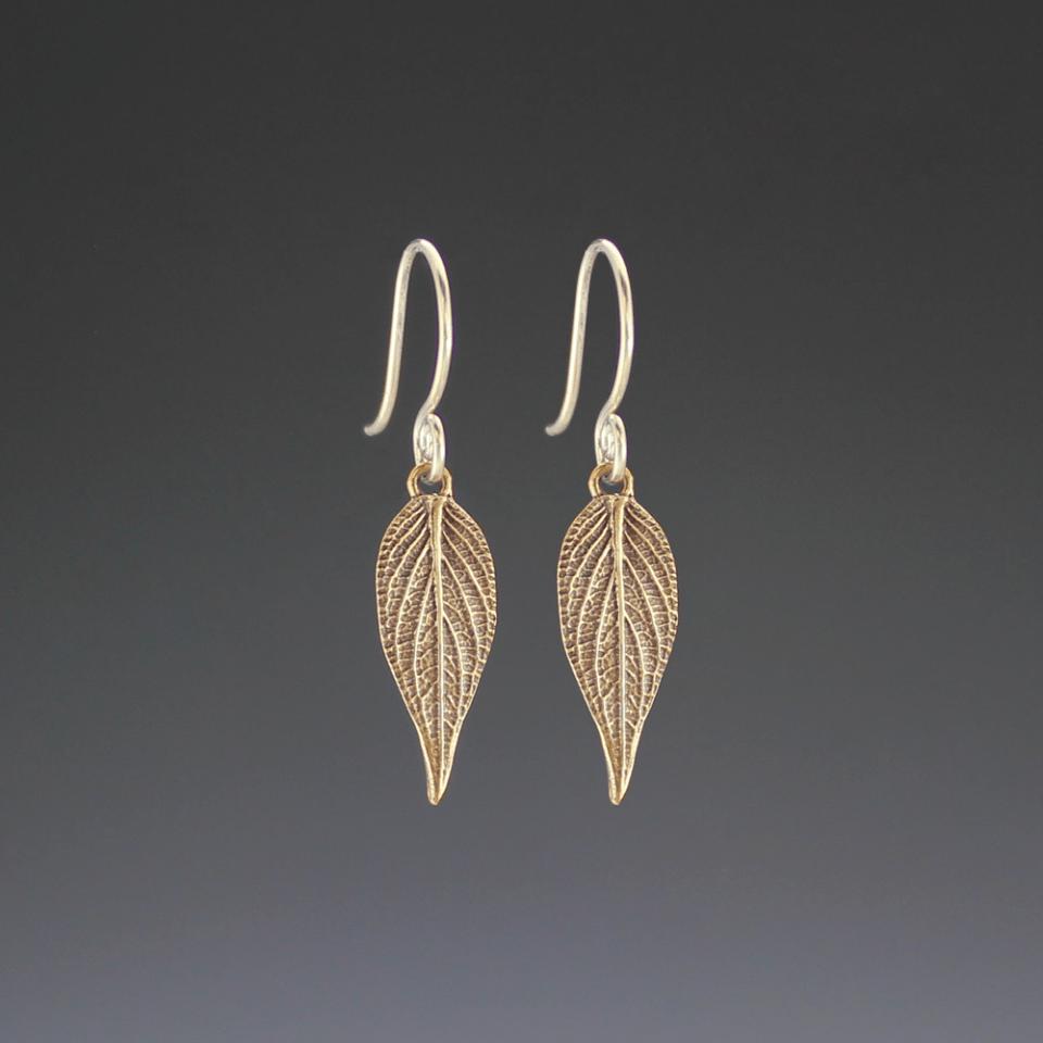 DaVine Jewelry, Small Bronze Pineapple Sage Leaf Dangle Earrings