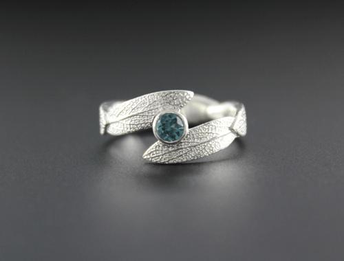 DaVine Jewelry, Montana Sapphire Sage Leaves Ring
