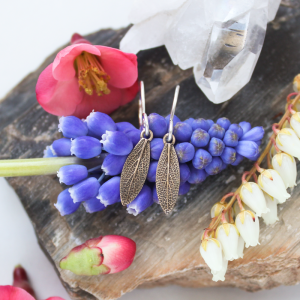 DaVine Jewelry, Delicate Bronze Sage Leaf Dangle Earrings