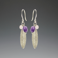 DaVine Jewelry, Silver Sage Leaf and Amethyst Dangle Earrings