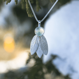 DaVine Jewelry, Prehnite and Sterling Silver Sage Leaves Pendant