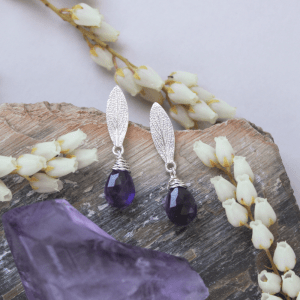 DaVine Jewelry, Silver and Faceted Amethyst Stone Sage Leaf Stud Earrings