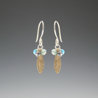 DaVine Jewelry, Bronze Sage Leaf and Gemstone Dangle Earrings