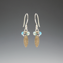 DaVine Jewelry, Bronze Sage Leaf and Gemstone Dangle Earrings