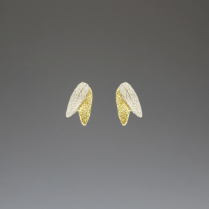 DaVine Jewelry, Gold and Silver Sage Leaf Stud Earrings