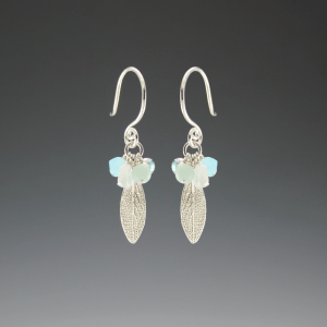 DaVine Jewelry, Silver Sage Leaf and Gemstone Dangle Earrings