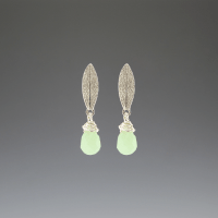DaVine Jewelry, Sage Leaf and Green Aventurine Silver Stud Earrings
