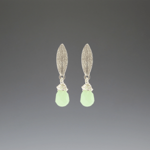 DaVine Jewelry, Sage Leaf and Green Aventurine Silver Stud Earrings