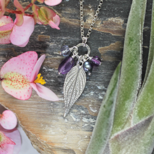 DaVine Jewelry, Amethyst and Sterling Silver Pineapple Sage Leaf Charmy Necklace