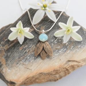 DaVine Jewelry, Blue Chalcedony and Bronze Sage Leaves Pendant