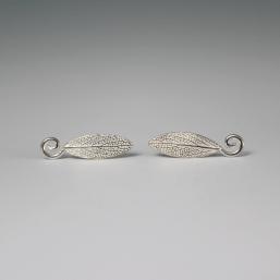 DaVine Jewelry,Silver Garden Sage Leaf Spiral Stud Earrings
