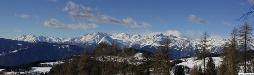 Winter mountain panorama showing the mountains over Merano