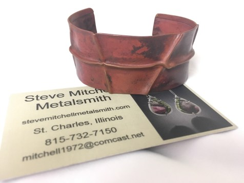 Metal cuff bracelet by Steve Mitchell