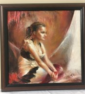 Oil painting of girl by Claudia Selene