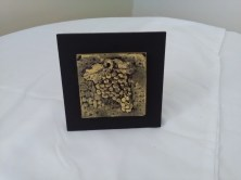 Carved grape tile by Diane Kline