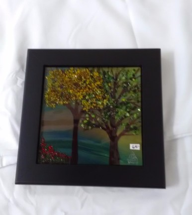 Stained glass fall trees by Yvonne Stoklosa