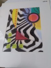 Zebra print abstract with pink circle by Marvin Murphy