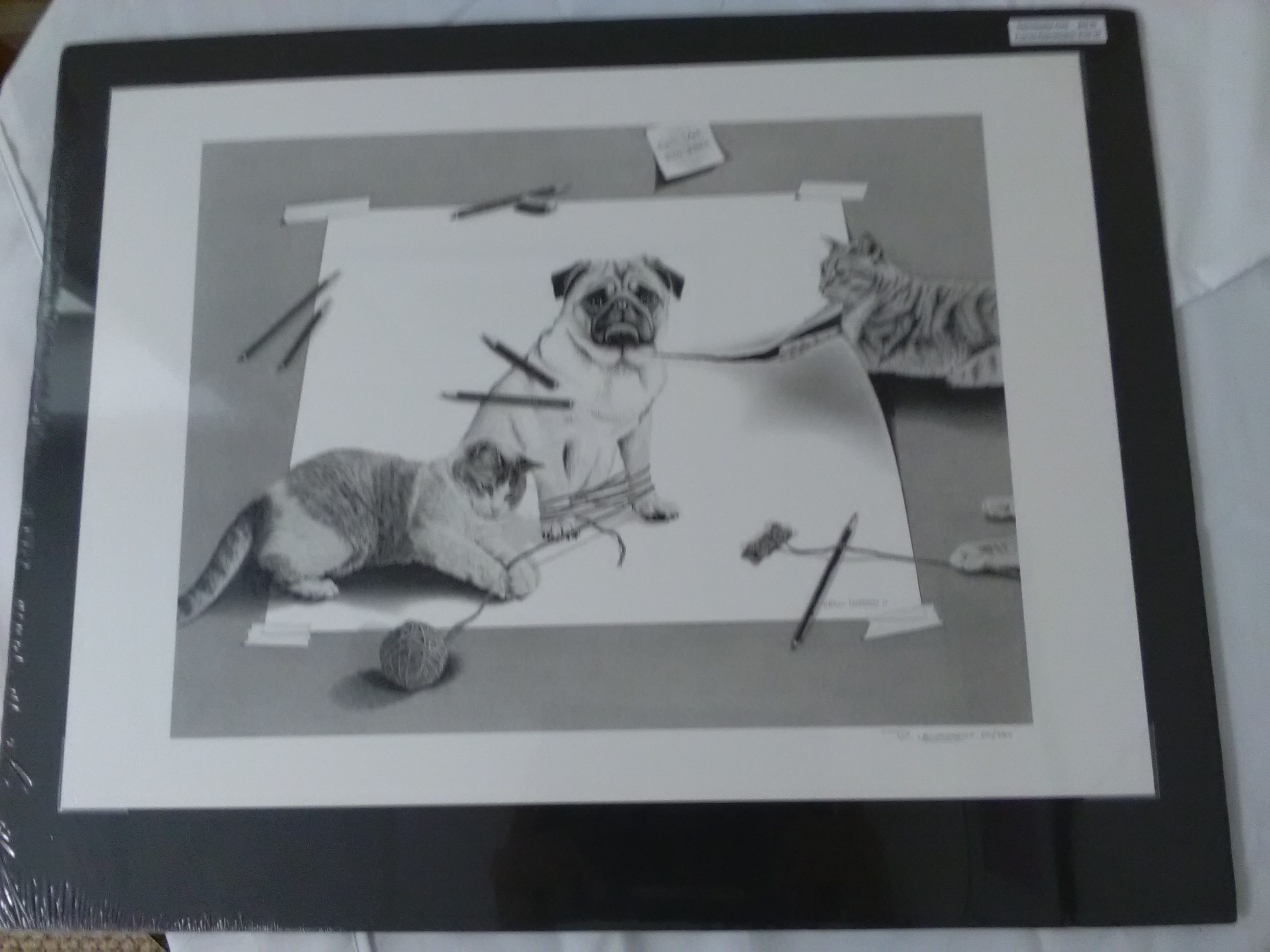 Kitten and pug print by Robin Laursdorg