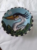 Small angry heron bowl by Toni & Jay Mann