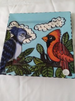 Cardinal and blue bird plate by Toni & Jay Mann
