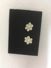 Lace cast into Sterling silver flower earrings by Lorraine Kolasa