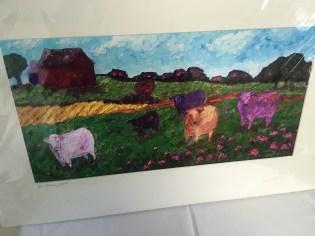 Cows in pasture print by Kim Rhoney