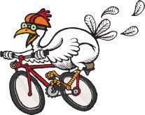 chicken-on-bike, white