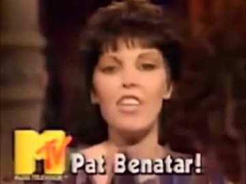 Screen grab of singer Pat Benatar on MTV.