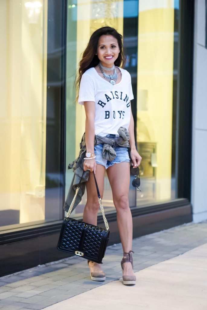 raising boys tee, shorts, rebecca minkoff, love cross body bag, lace up espadrilles, camo jacket, statement necklace