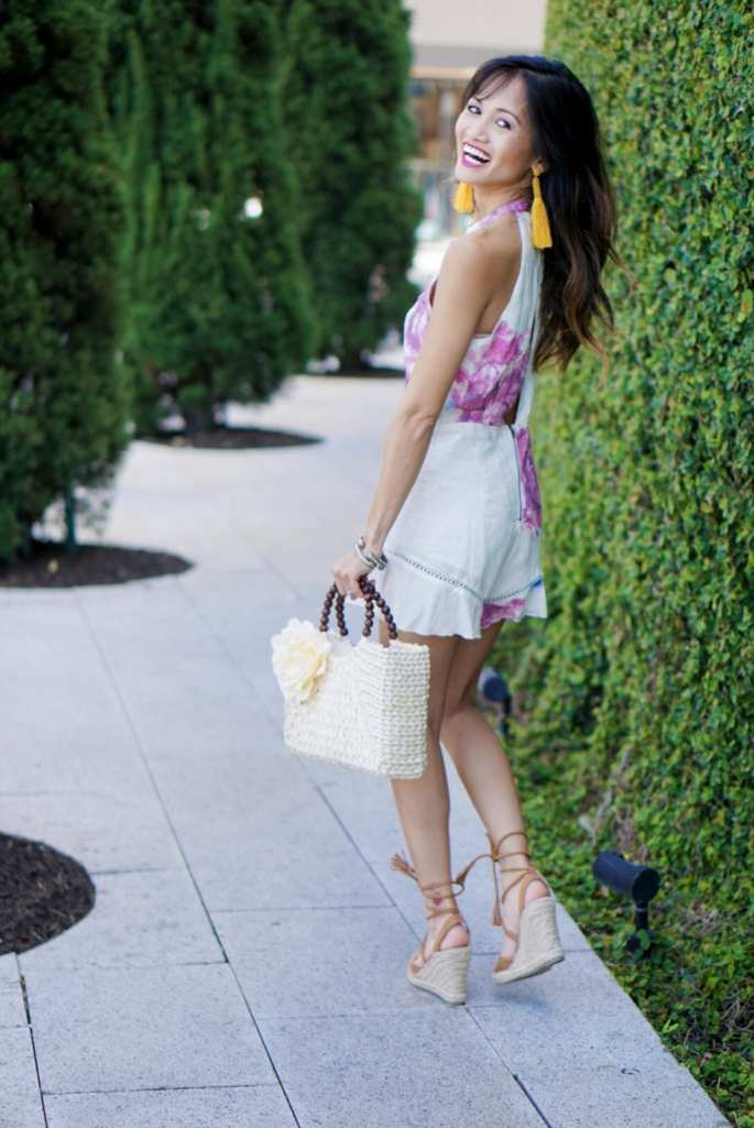 easter outfit, tassel earrings, yellow earrings, brunch attire, straw bag, lace up espadrilles, floral romper, spring outfit, summer outfit