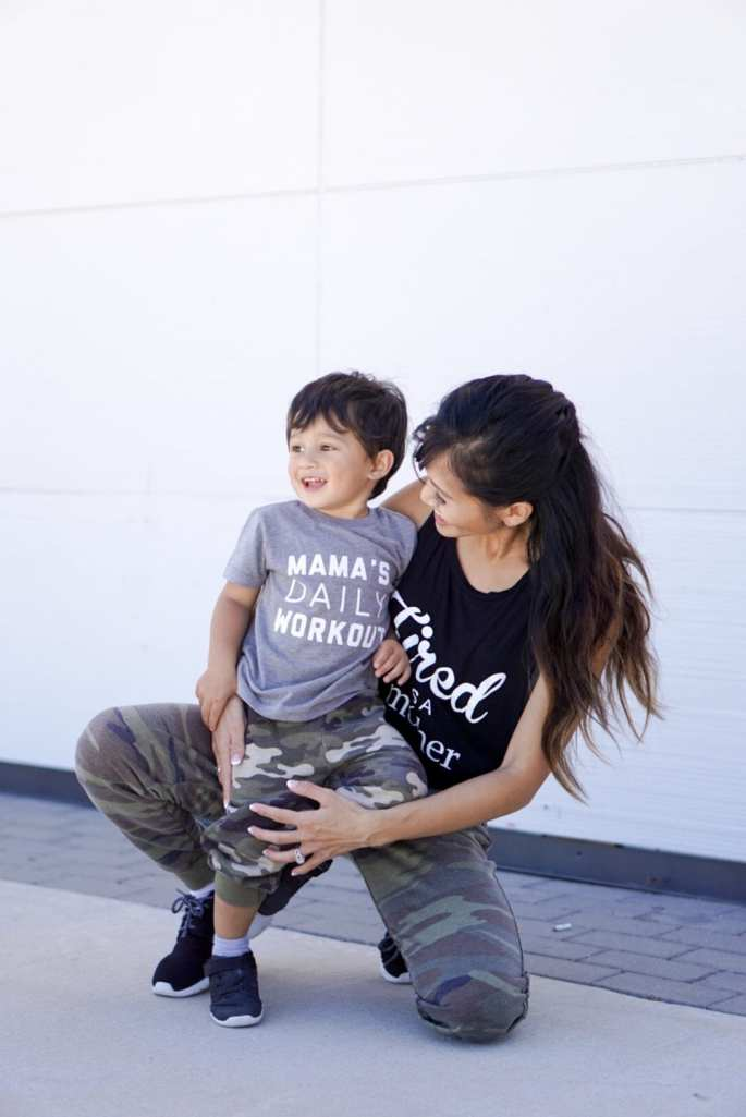 mommy and me outfits, boy mom, camo pants, black nike, mama's daily workout, tired as a mother