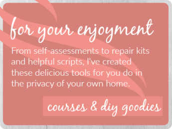From self-assessments to scripts on how to talk to your partner to repair kits to help you heal from disconnection, sex and relationship coach Dawn Serra has loads of goodies for you to invest in.