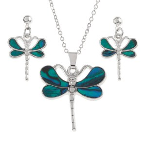 Tide Jewellery Inlaid Paua Shell Dragonfly Necklace & Earring Set in a Box