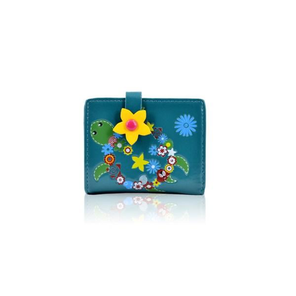 Flower Turtle Small Purse Blue