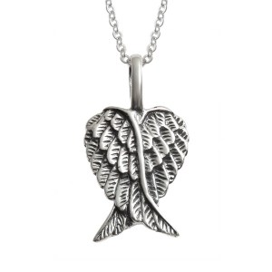 Sterling silver Angel Wing Heart pendant. 25mm approx – Gift Boxed – 18″ Sterling Silver Chain