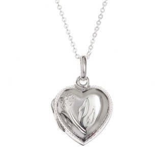 Sterling Silver Heart Locket Necklace – Gift Boxed – 18″ Sterling Silver Chain
