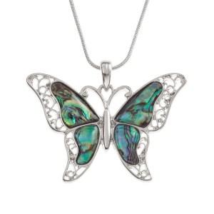Tide Jewellery Paua Shell Filigree Butterfly Necklace